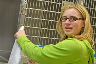 Young woman working at a animal care facility